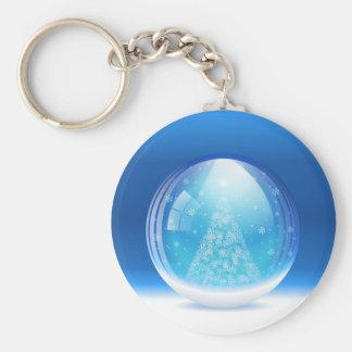 Beautiful snow globe basic round button keychain