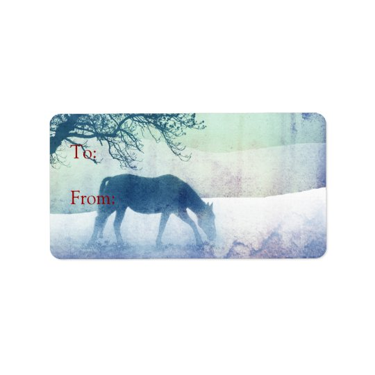 Beautiful Snow Horse Christmas Gift Tags