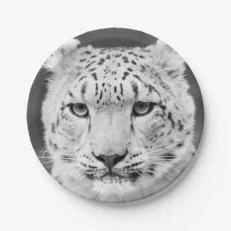 Beautiful Snow Leopard Black and White Portrait 7 Inch Paper Plate