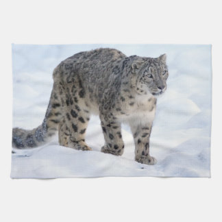 Beautiful snow leopard kitchen towel