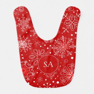 Beautiful Snowflakes on Red Background Christmas Bib