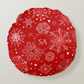 Beautiful Snowflakes on Red Background Christmas Round Pillow