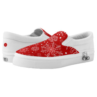Beautiful Snowflakes on Red Background Christmas Slip-On Sneakers