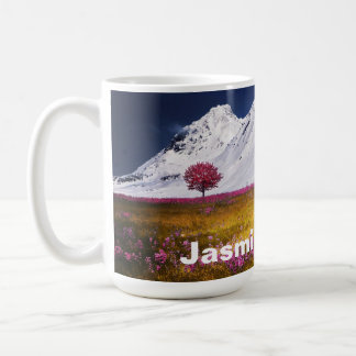 Beautiful Snowy Alps Pink / Purple Flowers Coffee Mug