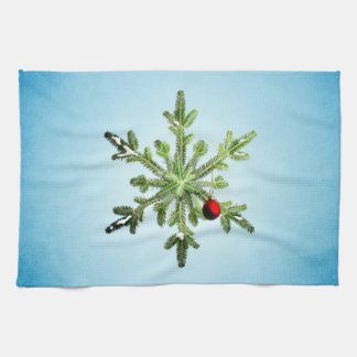 Beautiful Snowy Pine Snowflake Christmas Kitchen Towel