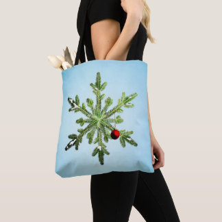 Beautiful Snowy Pine Snowflake Christmas Tote Bag