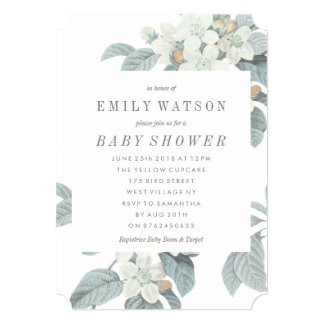Beautiful Soft Blue Flower Baby Shower Invitation