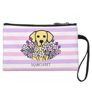Beautiful Soul Yellow Labrador Stripes Pouch Wristlet Purse