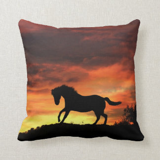 Beautiful Southwestern Colours Horse and Sunset Throw Pillow