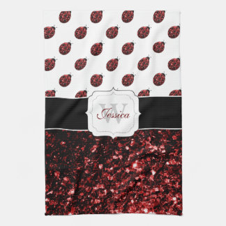 Beautiful Sparkling red sparkles Ladybugs Monogram Kitchen Towel
