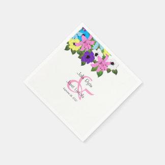 Beautiful Spring Floral  Wedding Design Disposable Napkin