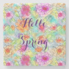 Beautiful  spring flowers watercolor paint stone coaster