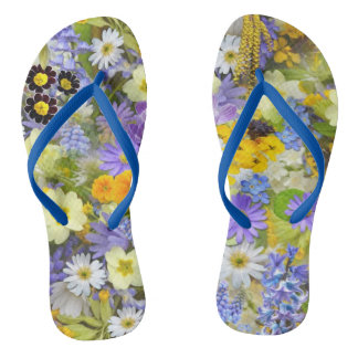 Beautiful Spring Meadow Flowers Flip Flops