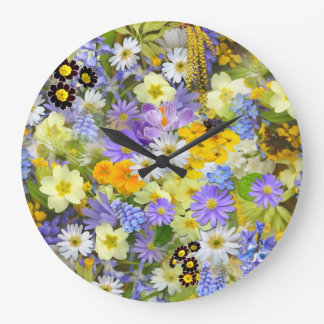 Beautiful Spring Meadow Flowers Round Clock