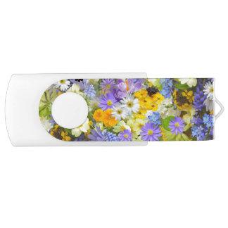 Beautiful Spring Meadow Flowers USB Flash Drive Swivel USB 2.0 Flash Drive