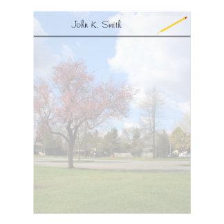 Beautiful spring park landscape photography custom letterhead