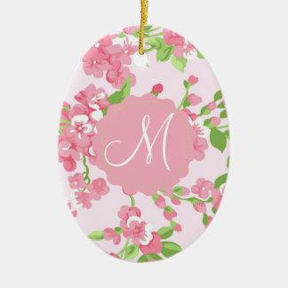 Beautiful Spring pink watercolor peach flowers Bea Ceramic Ornament