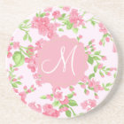 Beautiful Spring pink watercolor peach flowers Coaster