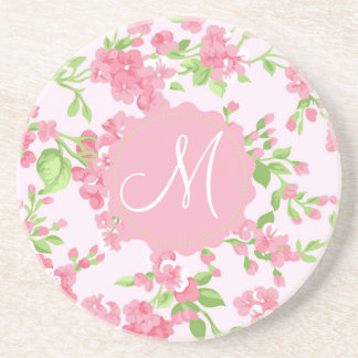 Beautiful Spring pink watercolor peach flowers Coaster