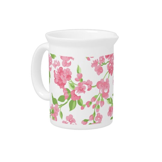 Beautiful Spring pink watercolor peach flowers Pitcher