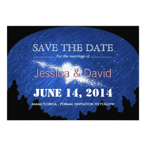 Beautiful Star Heart Save the Date Announcement