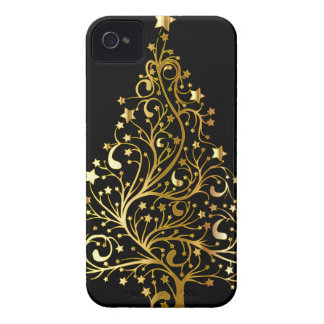 Beautiful starry metallic gold Christmas tree Case-Mate iPhone 4 Cases