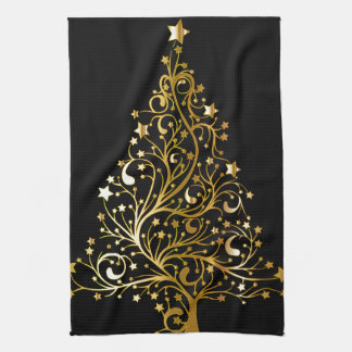 Beautiful starry metallic gold Christmas tree Kitchen Towel