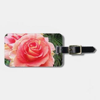 Beautiful, stylish, soft pink rose close-up photo luggage tag