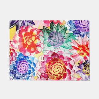Beautiful Succulent Plants Artsy Watercolor Doormat