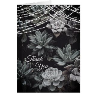 Beautiful Succulents Enchanting Lights Thank You Card