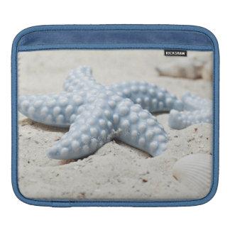 Beautiful summer beach sea star shell and sand sleeve for iPads