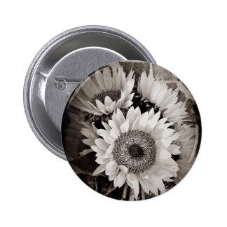 Beautiful Sunflower Bouquet Photo in Black & White Pinback Button