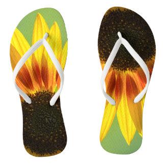 Beautiful sunflower flip flops