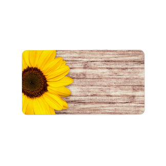 Beautiful sunflower on rustic barn wood blank label