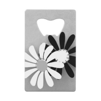 Beautiful Sunflower Portrait in Black and White Credit Card Bottle Opener