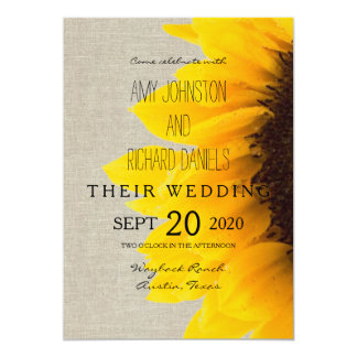 "Beautiful Sunflower Rustic Wedding Invitation 5"" X 7"" Invitation Card"