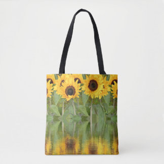 Beautiful Sunflowers with Reflection on Water Tote Bag