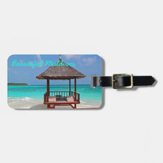 Beautiful, sunny Maldives Island beach and ocean Luggage Tag