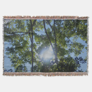 Beautiful Sunny Trees Nature Print Throw Blanket