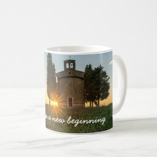 Beautiful Sunrise Bell Tower Meadow Inspirational Coffee Mug