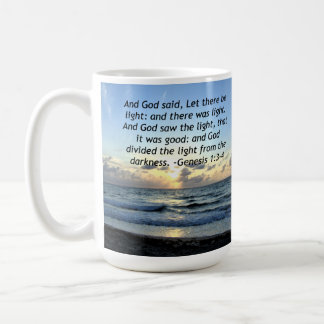 BEAUTIFUL SUNRISE GENESIS 1:3 SCRIPTURE PHOTO COFFEE MUG