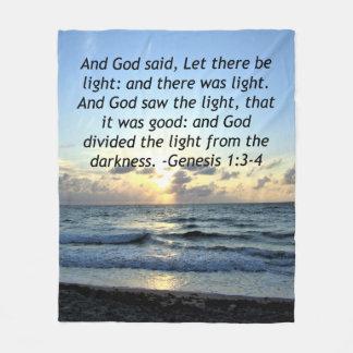 BEAUTIFUL SUNRISE GENESIS 1:3 SCRIPTURE PHOTO FLEECE BLANKET