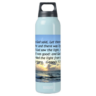 BEAUTIFUL SUNRISE GENESIS 1:3 SCRIPTURE PHOTO INSULATED WATER BOTTLE