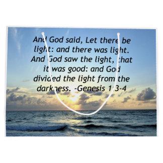 BEAUTIFUL SUNRISE GENESIS 1:3 SCRIPTURE PHOTO LARGE GIFT BAG