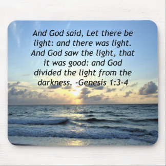 BEAUTIFUL SUNRISE GENESIS 1:3 SCRIPTURE PHOTO MOUSE PAD