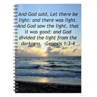BEAUTIFUL SUNRISE GENESIS 1:3 SCRIPTURE PHOTO NOTEBOOKS