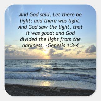 BEAUTIFUL SUNRISE GENESIS 1:3 SCRIPTURE PHOTO SQUARE STICKER