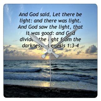 BEAUTIFUL SUNRISE GENESIS 1:3 SCRIPTURE PHOTO SQUARE WALL CLOCK