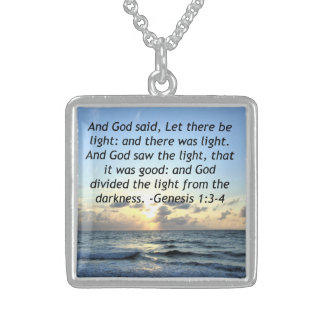 BEAUTIFUL SUNRISE GENESIS 1:3 SCRIPTURE PHOTO STERLING SILVER NECKLACE