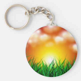 Beautiful Sunrise Over a Field of Grass Basic Round Button Keychain
